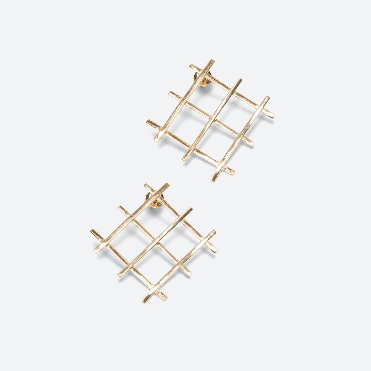 Gold-plated metal earrings 1
