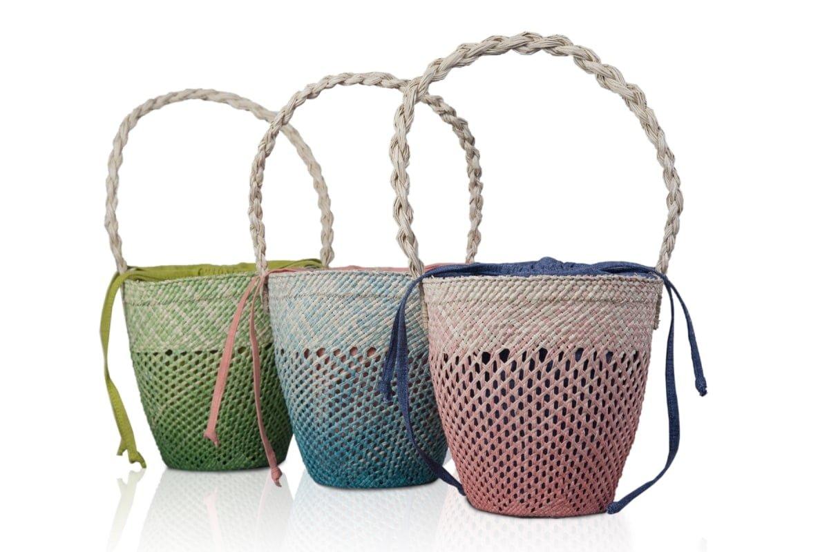 100% linen, woven bucket bag 2