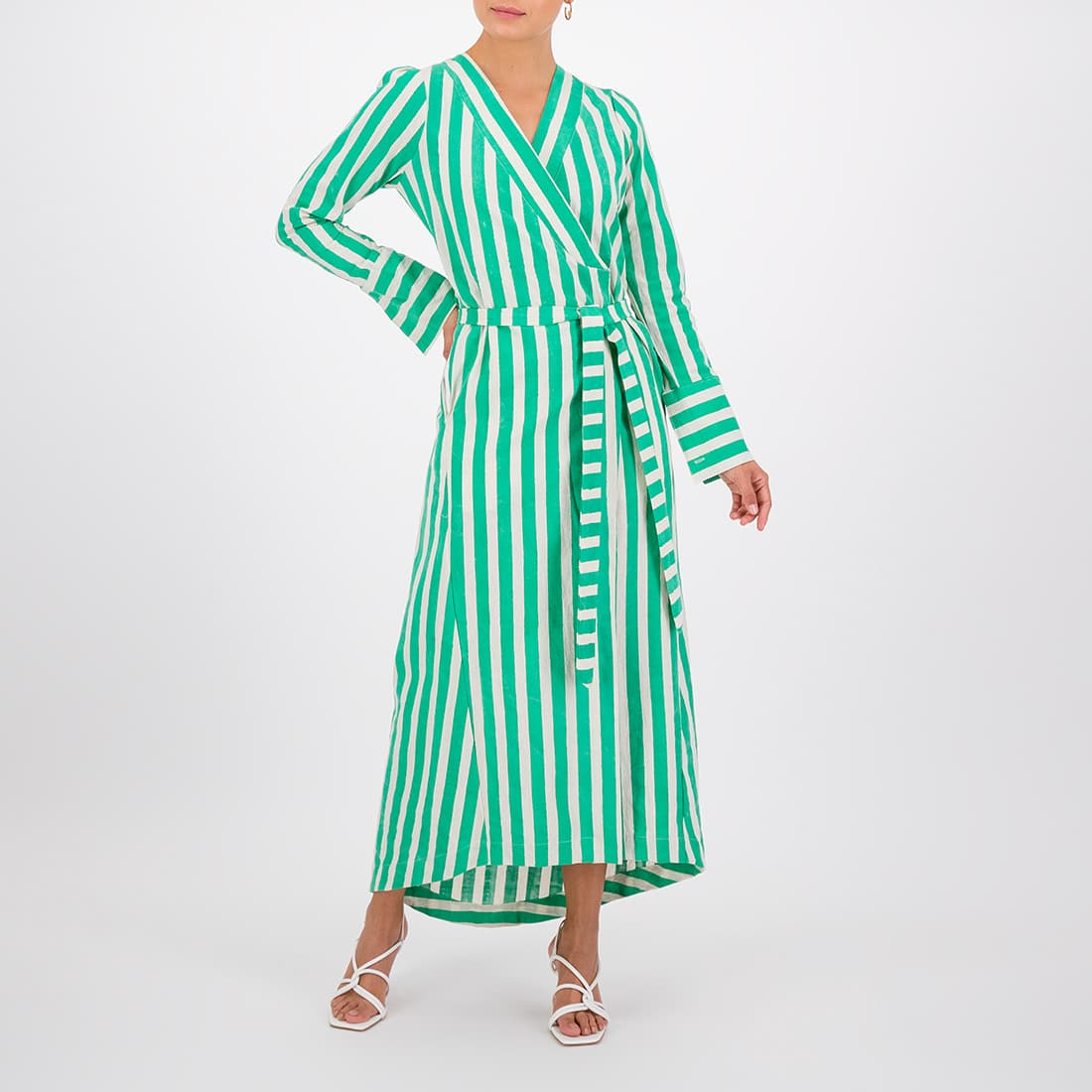 100% cotton ankle-length wrap dress 2