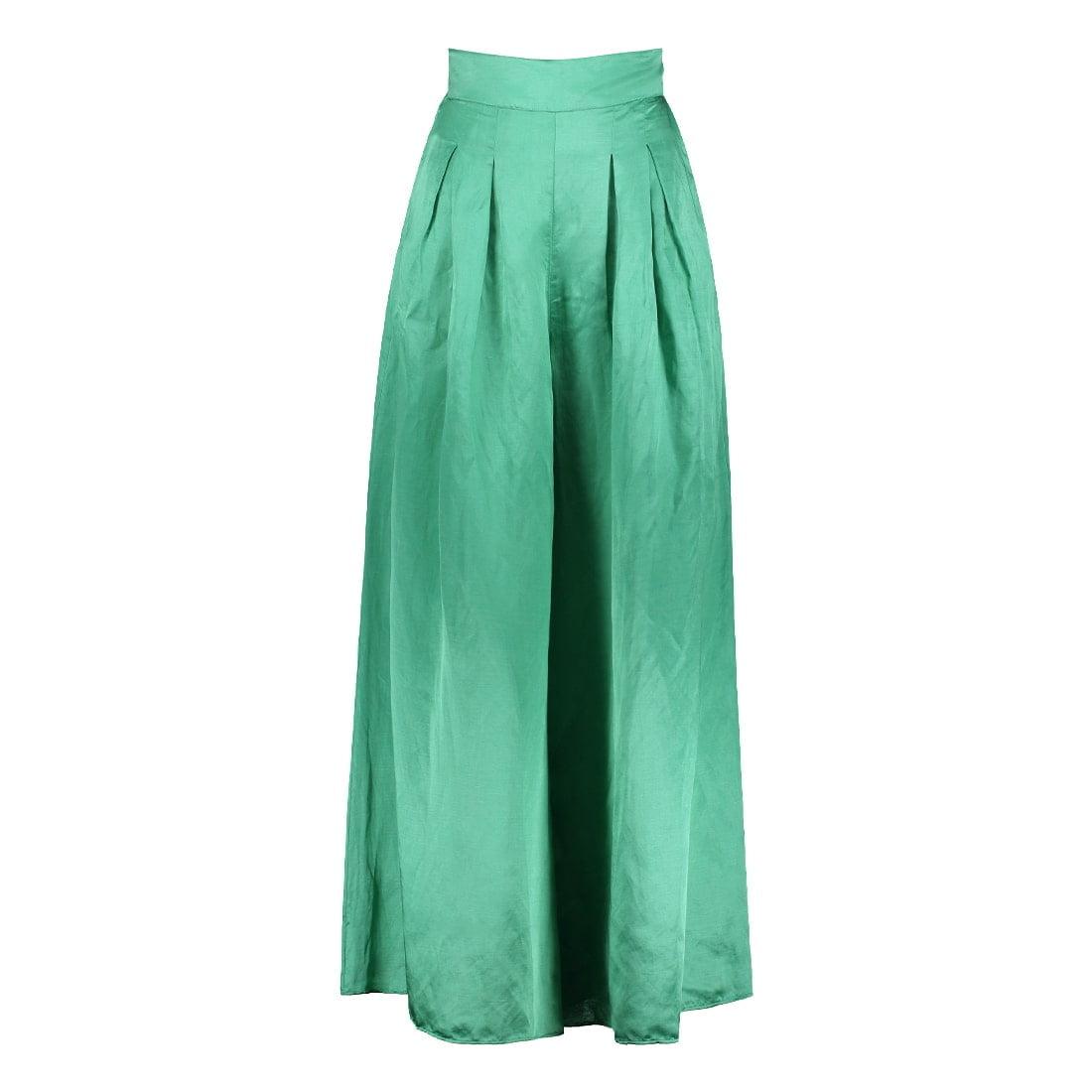 Satin viscose-linen wide-leg trouser 1