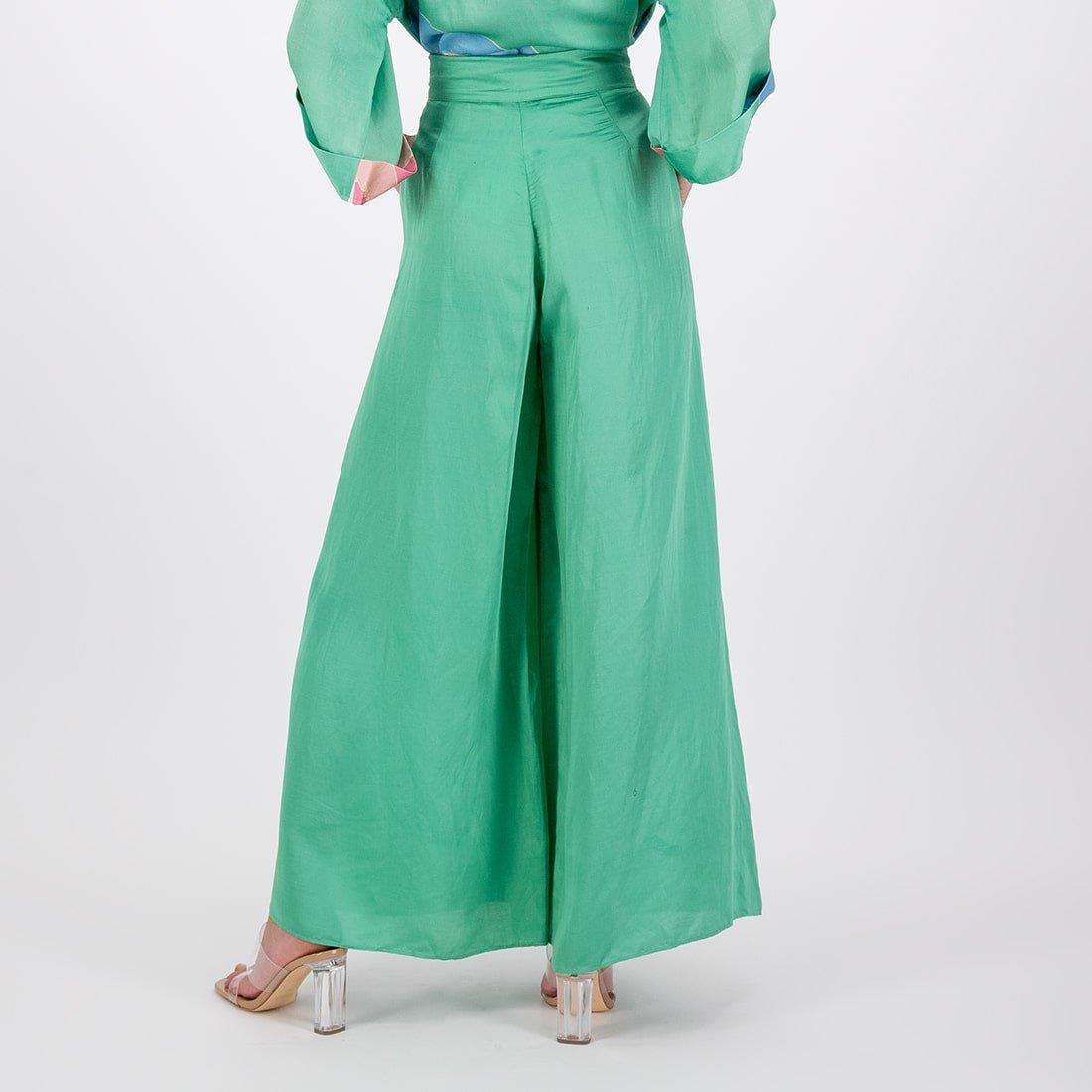 Satin viscose-linen wide-leg trouser 3
