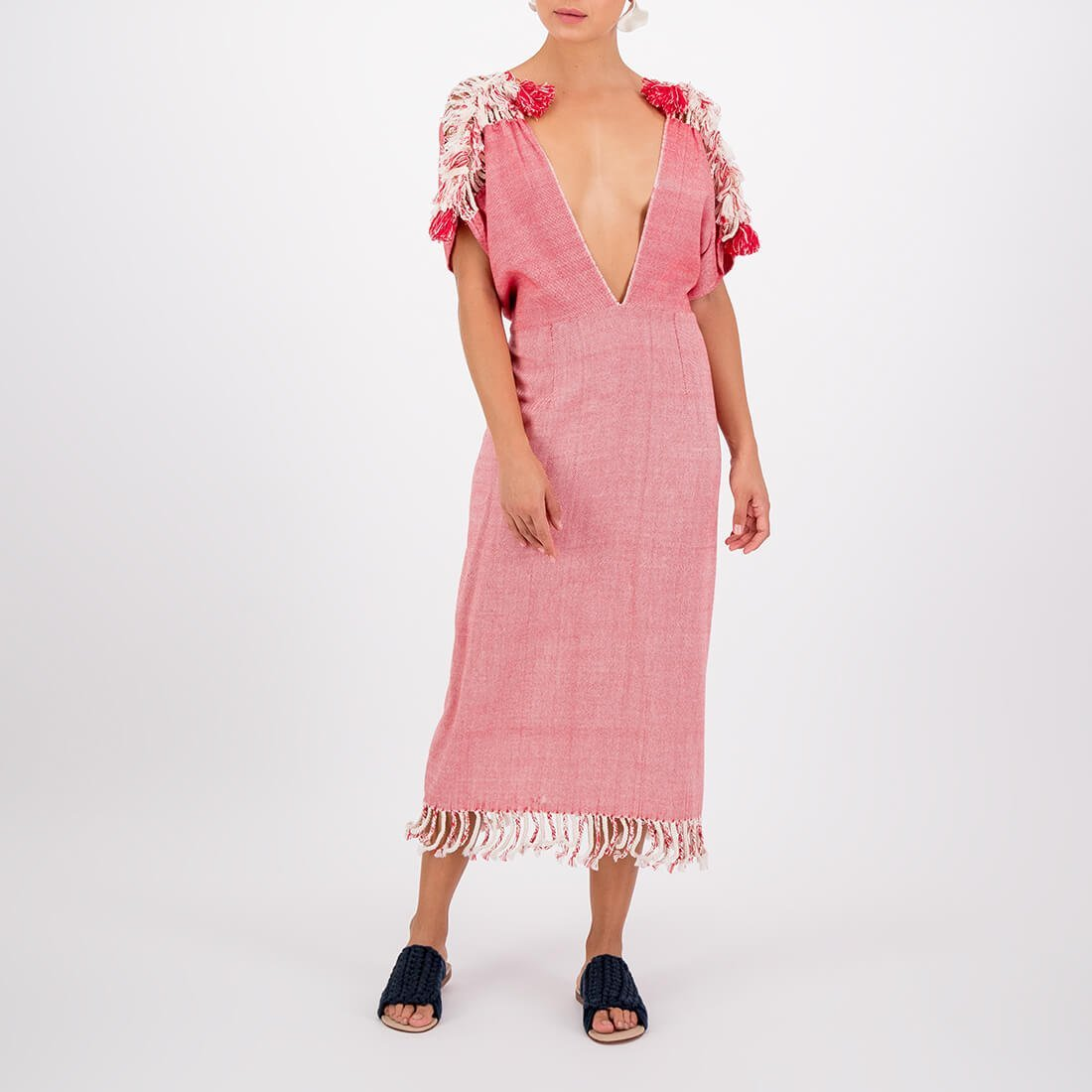 100% cotton handwoven dress with deep V-neck 2