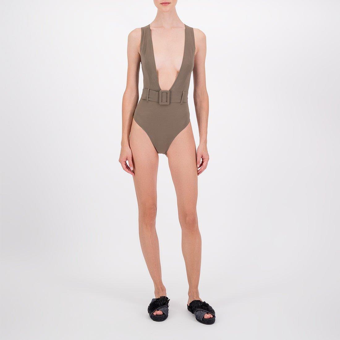 Deep-v swimsuit in blended fabric 2