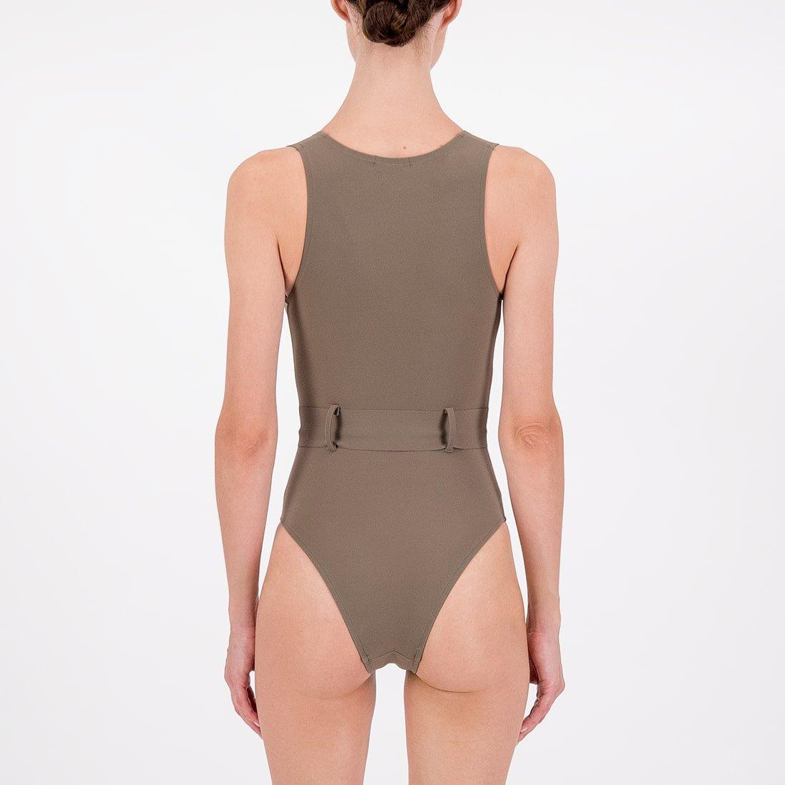 Deep-v swimsuit in blended fabric 3