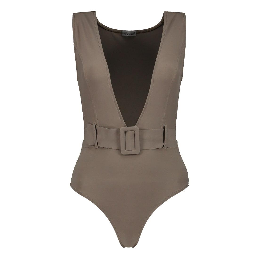 Deep-v swimsuit in blended fabric 1