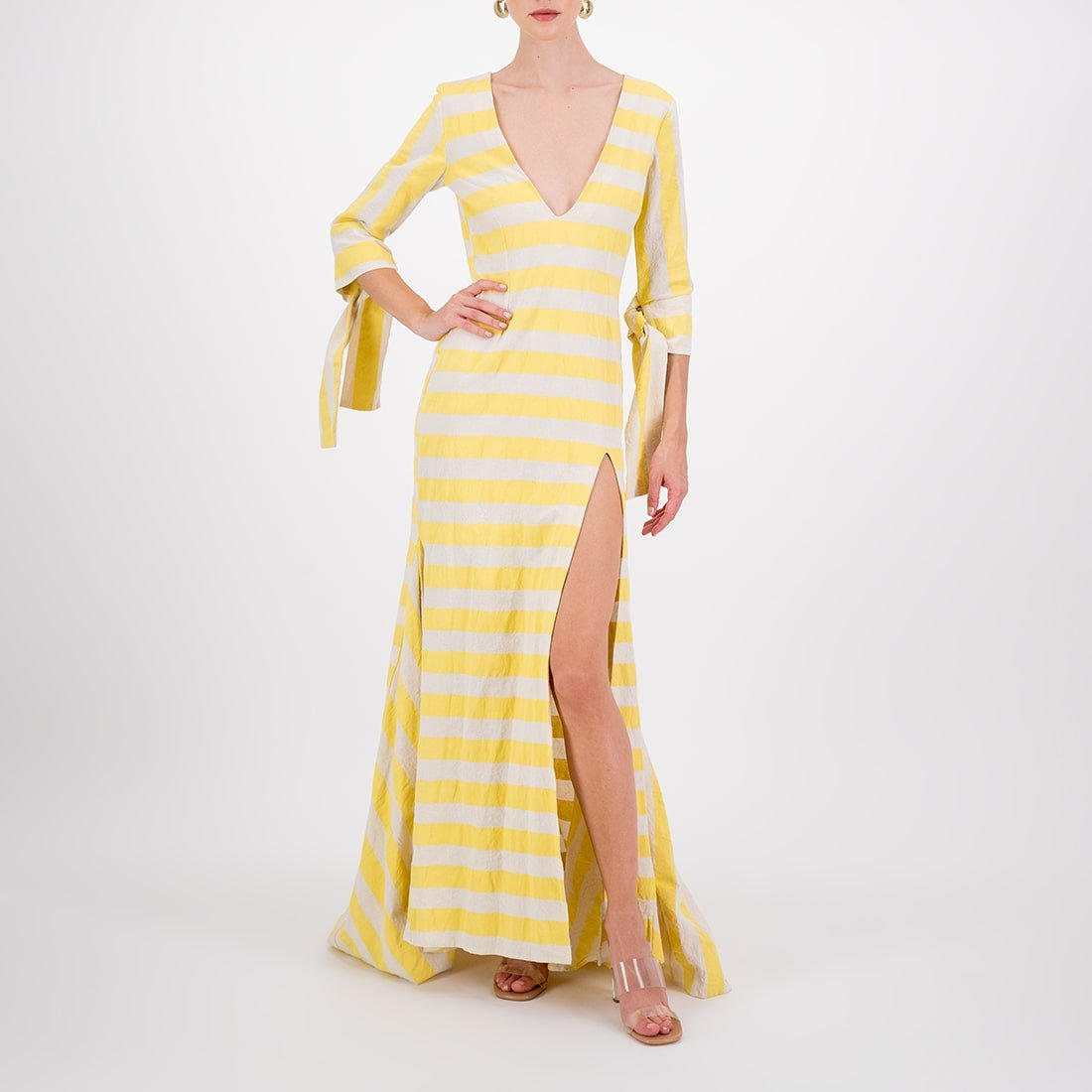 100% cotton floor-length, v-neck gown 2