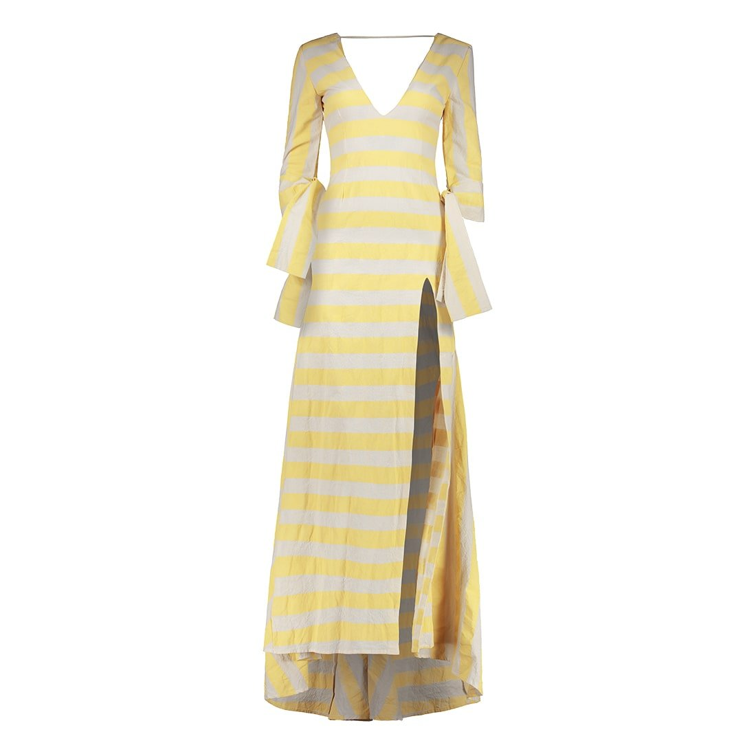 100% cotton floor-length, v-neck gown 1