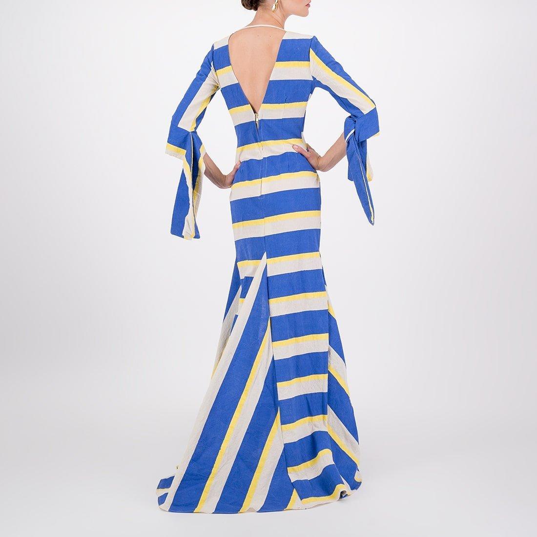100% cotton floor-length, v-neck gown 3