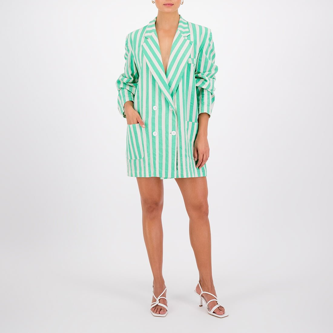 100% cotton striped oversized blazer 3