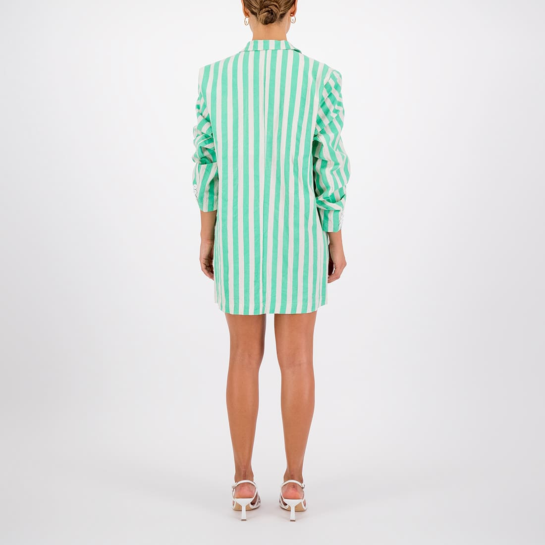 100% cotton striped oversized blazer 2