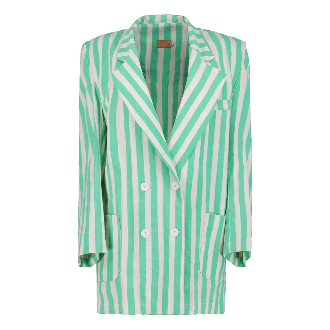 100% cotton striped oversized blazer 1