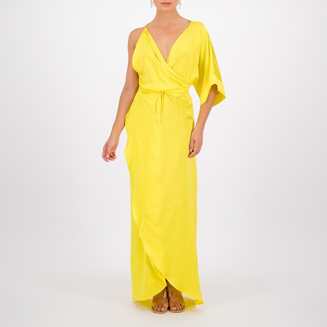 Floor-length, silk wrap dress 2