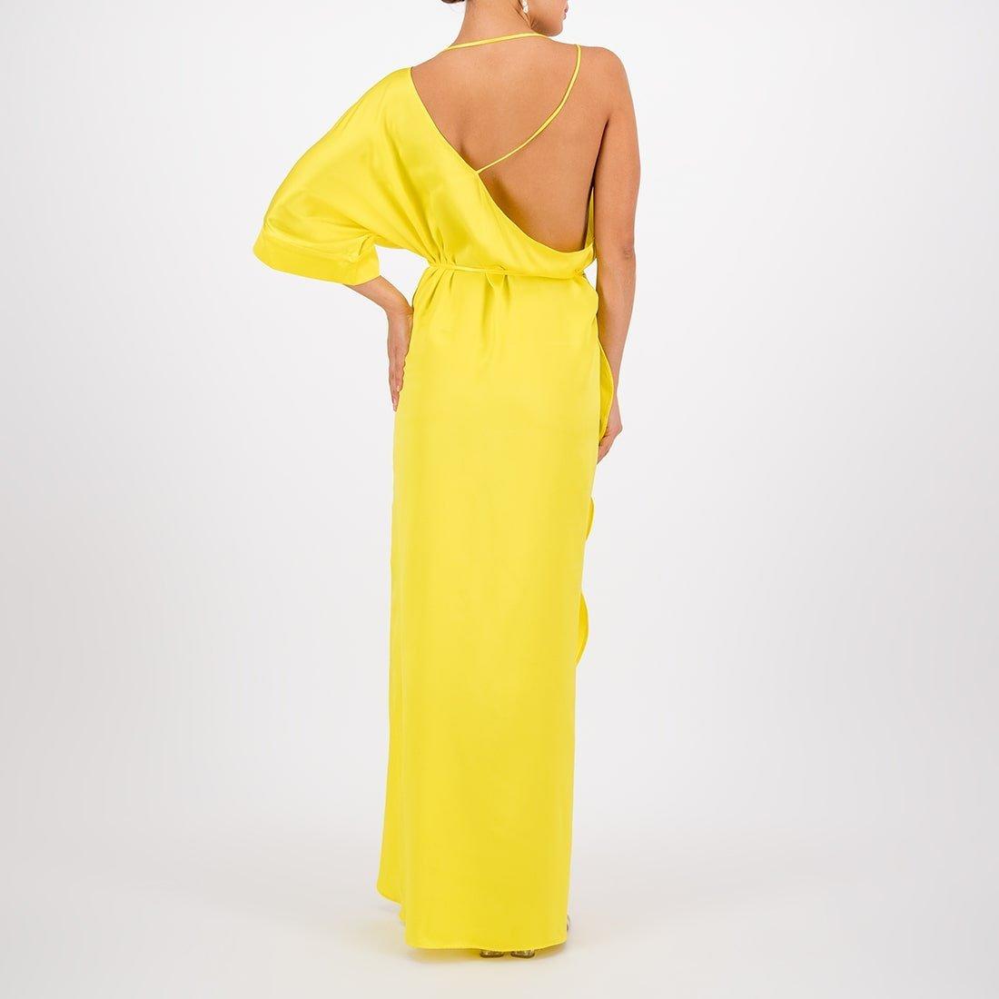 Floor-length, silk wrap dress 3