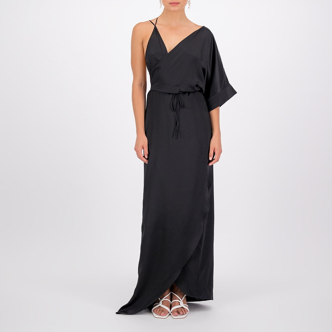 Floor-length, silk wrap dress 2