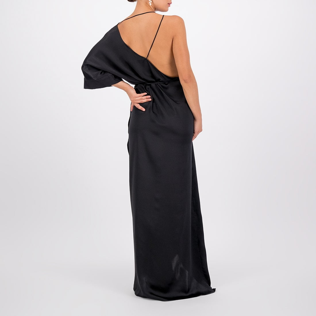 Floor-length, silk wrap dress 3