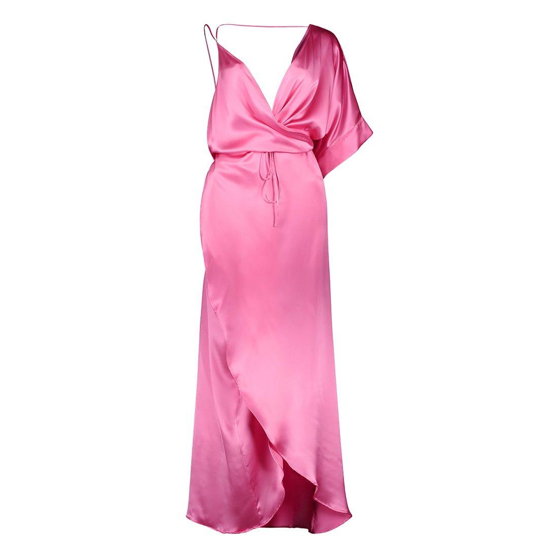 Floor-length, silk wrap dress 1