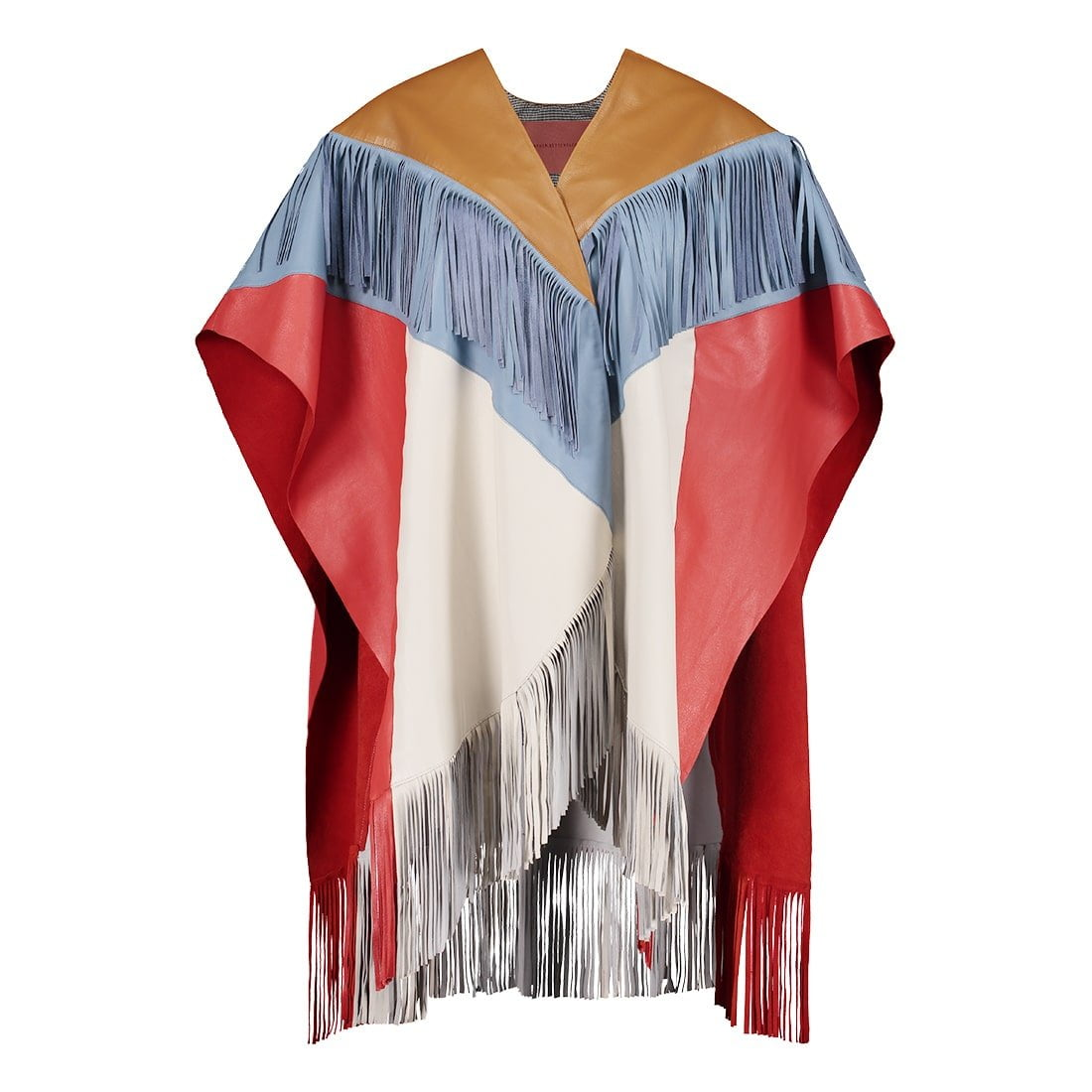 Color-blocked leather cape 1