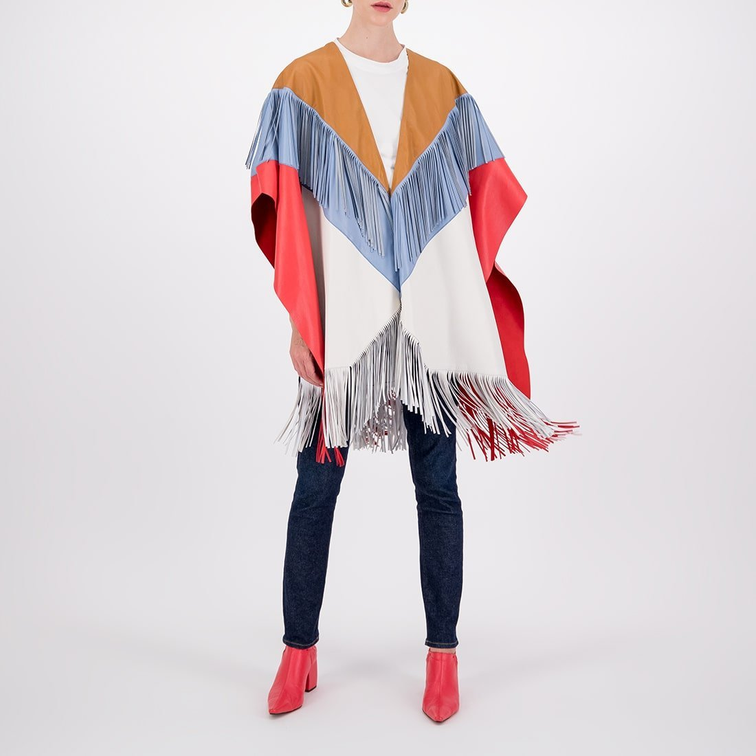 Color-blocked leather cape 2