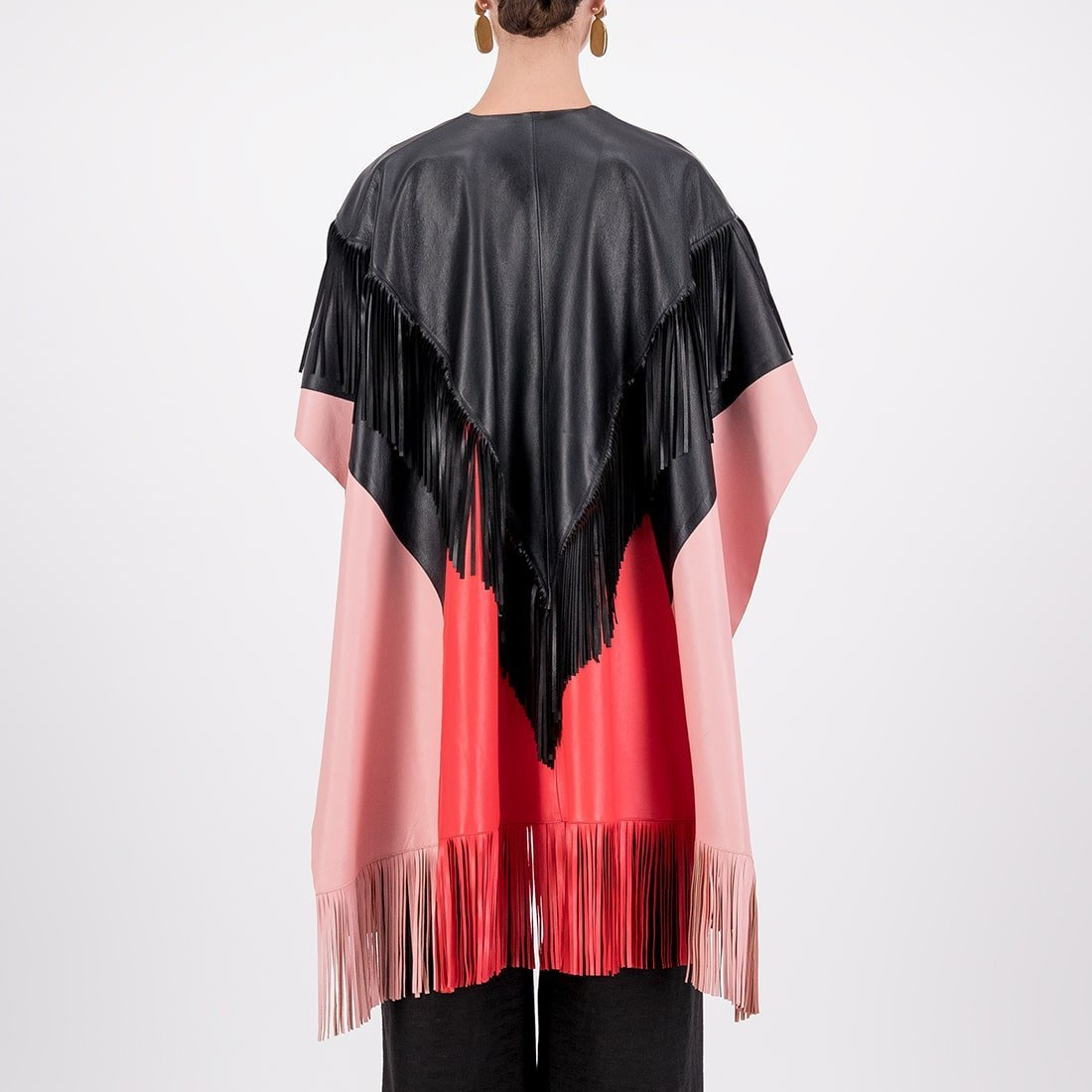 Color-blocked leather cape 3