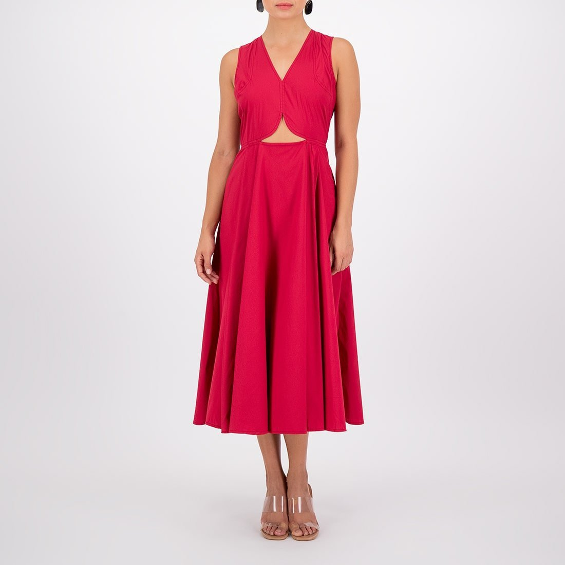 Poplin mid-length dress with cutouts 2