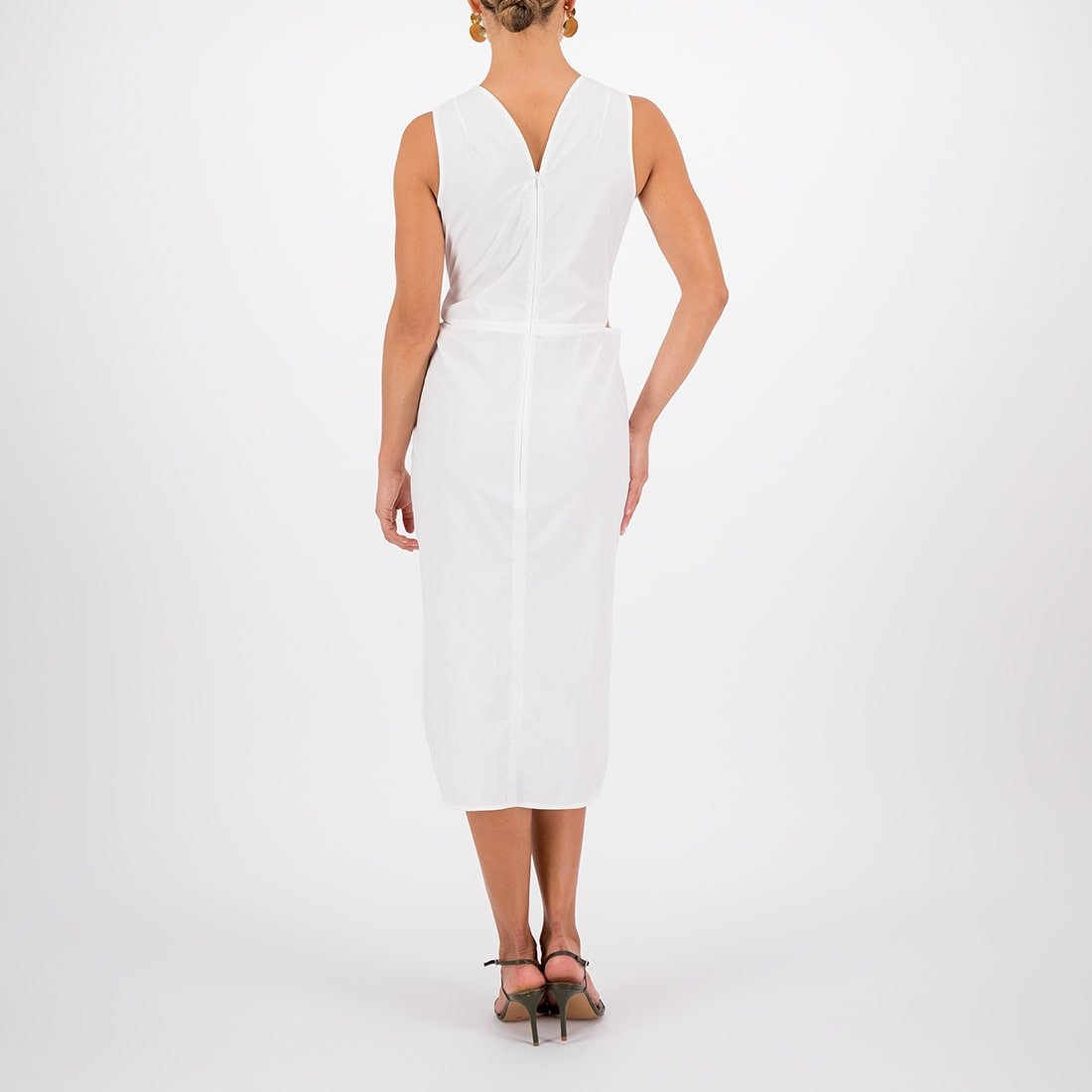 Poplin mid-length dress with cutouts 3