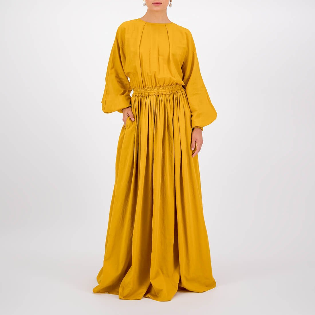 Cotton floor-length, high-neck dress 2