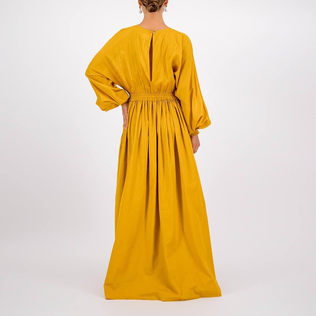 100% cotton floor-length, high-neck dress 3