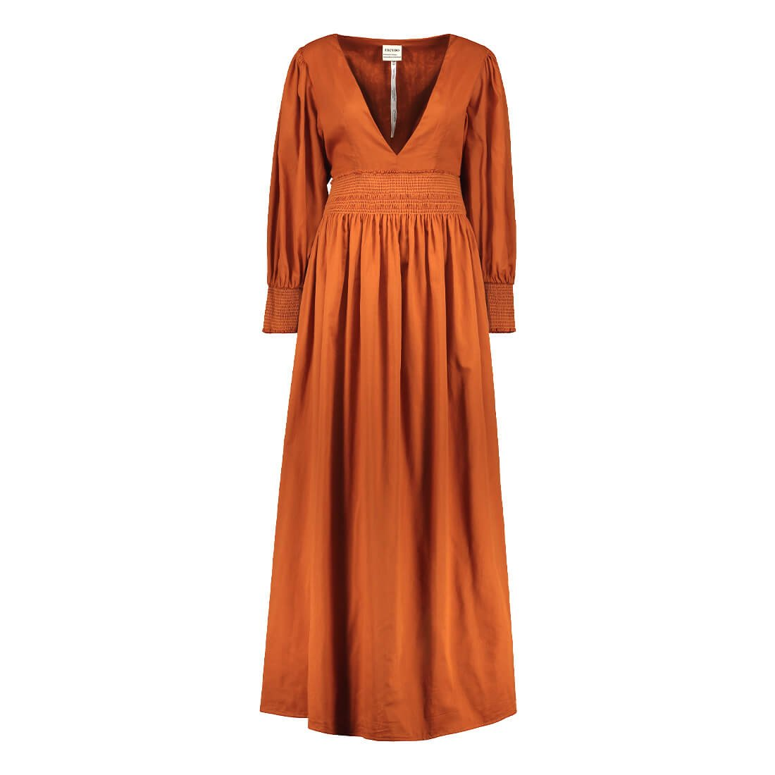 100% cotton dress with deep V-neck and long sleeves 1