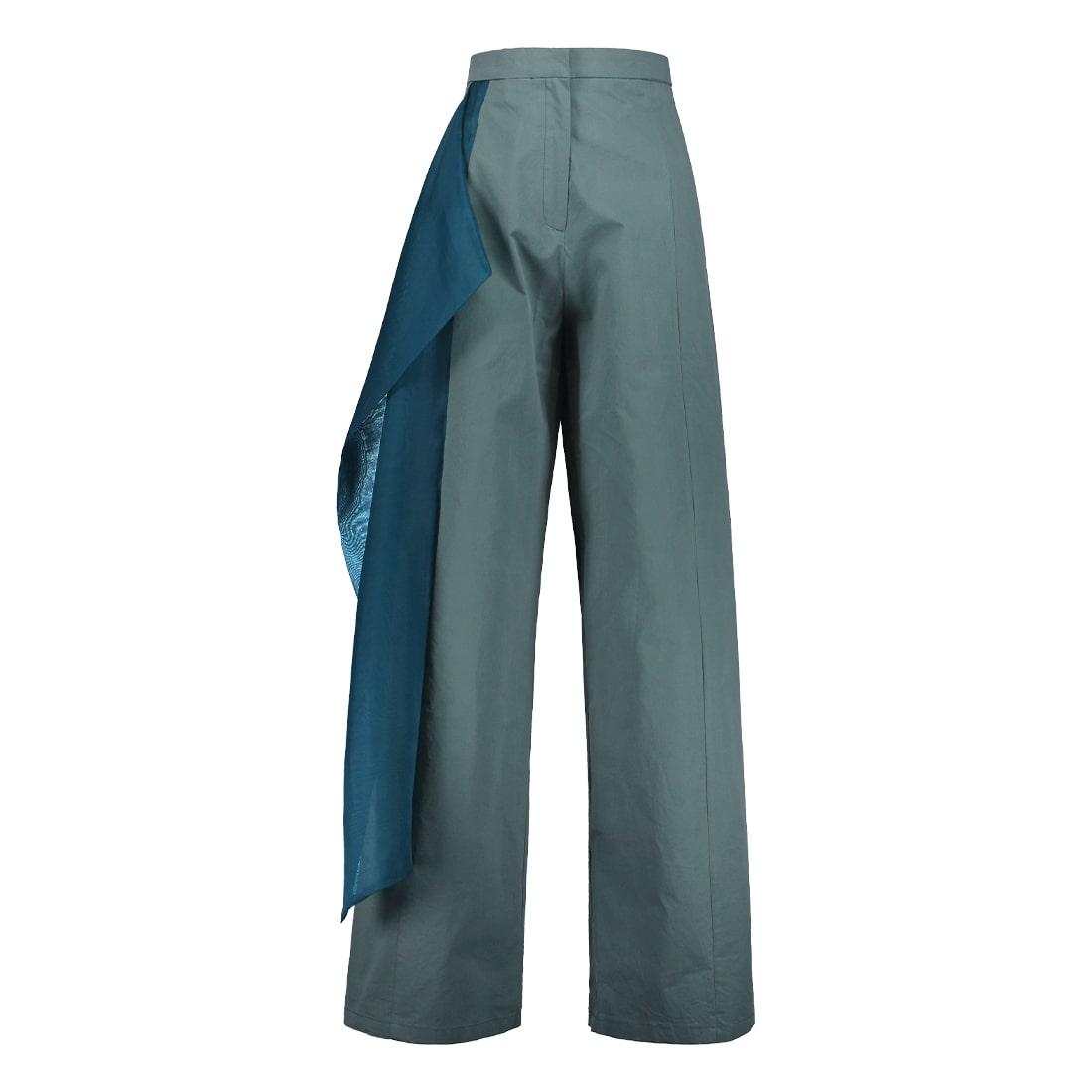Cotton-silk blend wide-leg, high-waist pant 1