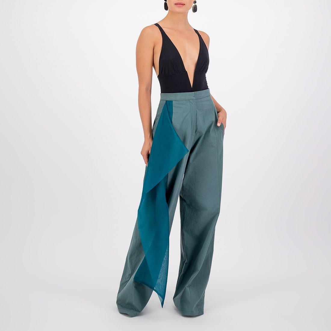 Cotton-silk blend wide-leg, high-waist pant 2