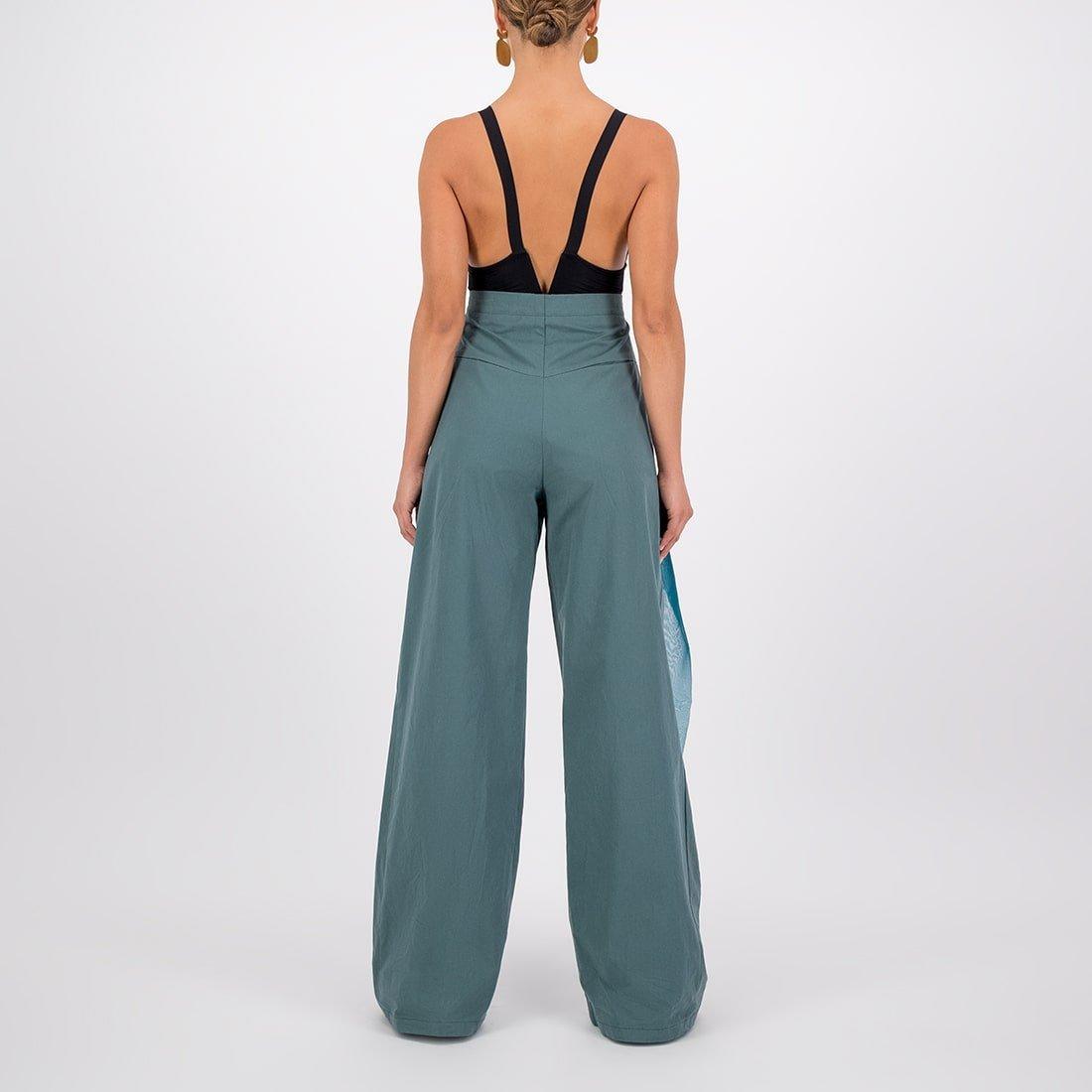 Cotton-silk blend wide-leg, high-waist pant 3