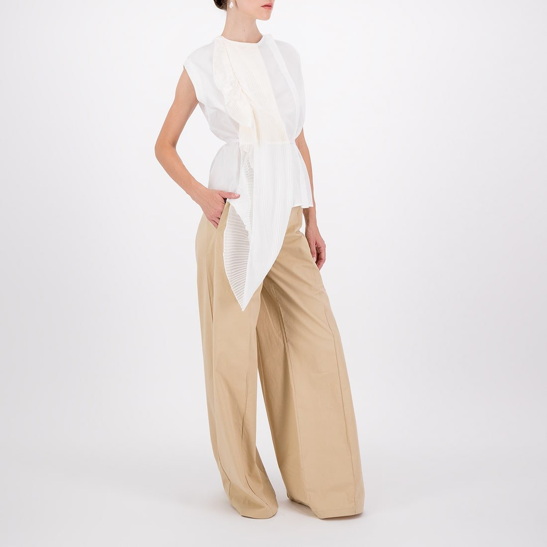 Fabric blend asymmetrical sleeveless top 2