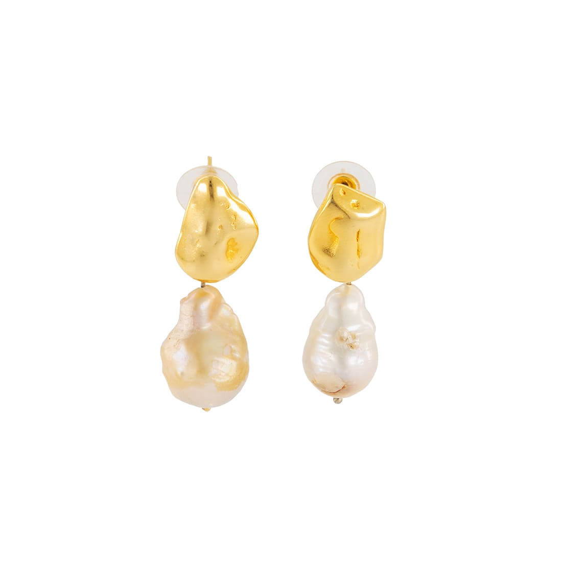 Gold-plated bronze earrings with pearls 1