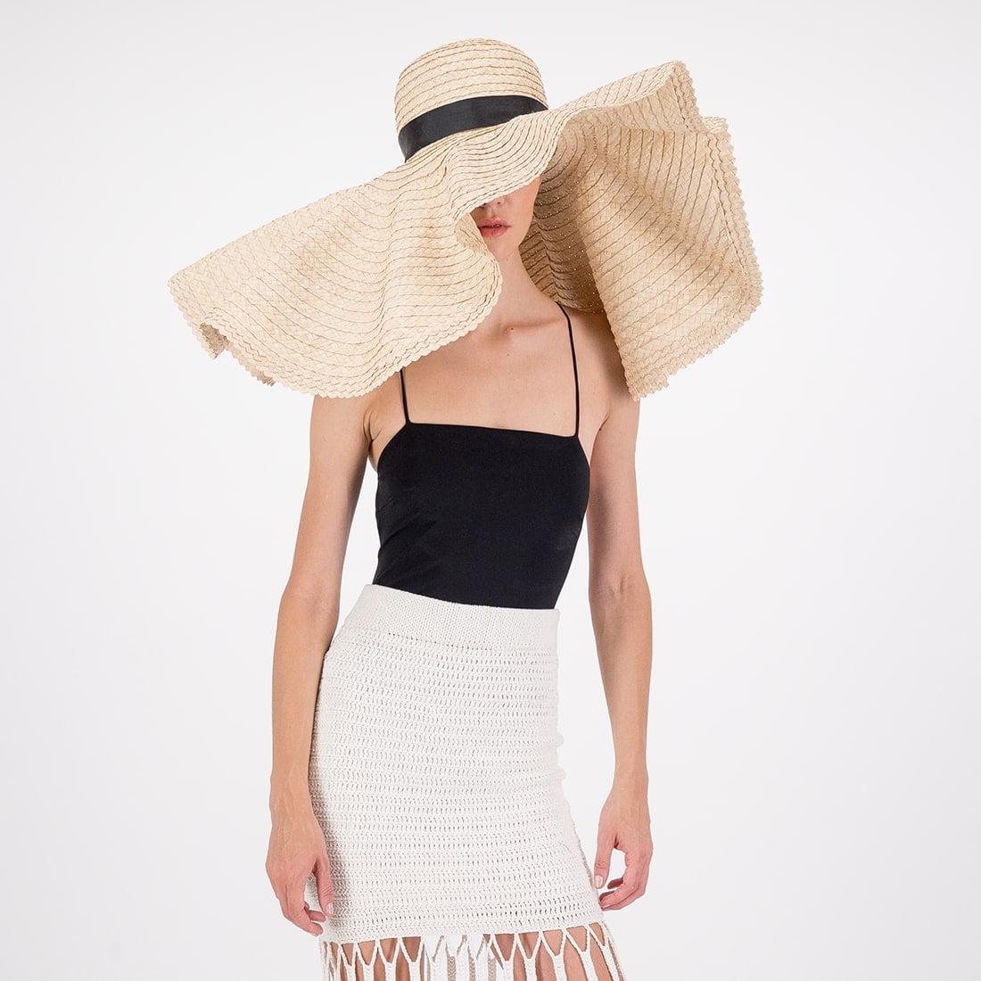 Handwoven palm wide-brim hat 2